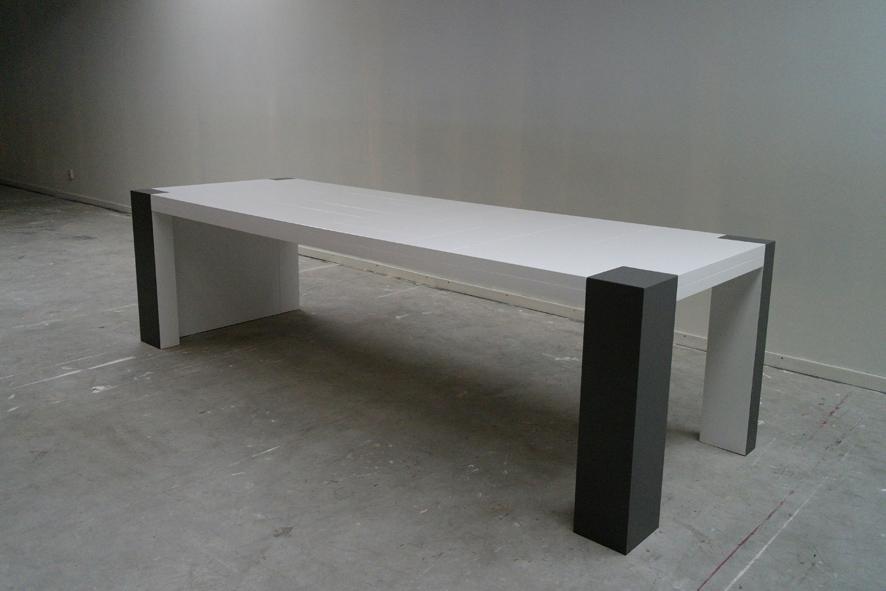 Grote design tafel op maat, 8 personen, 280cm x 90cm x 76cm, Antraciet en wit