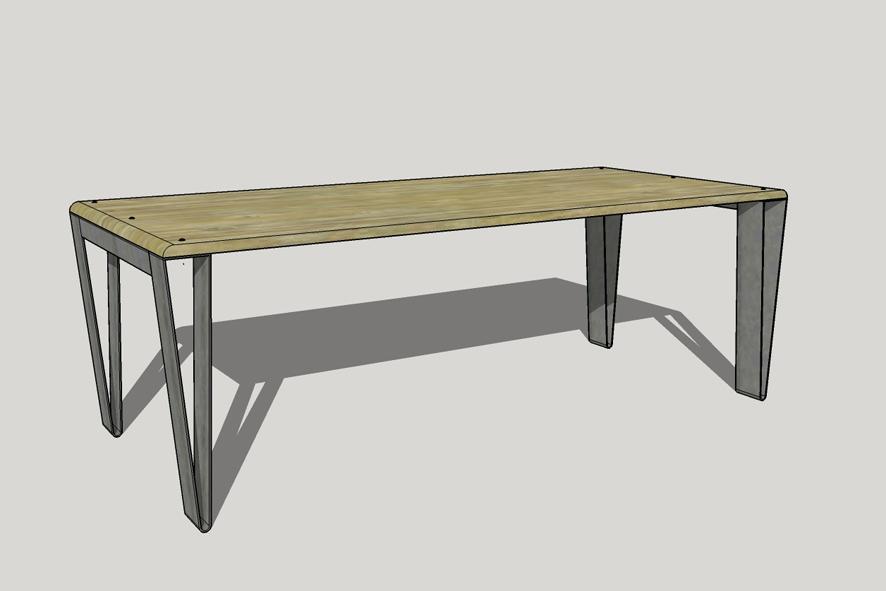 Design tafel, designtafel, tafel op maat laten ontwerpen, stalen poten, 6 personen