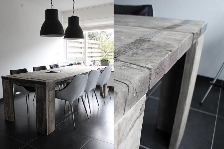 Grote tafel op maat, 6-8 personen, 250cm x 100cm x 76cm