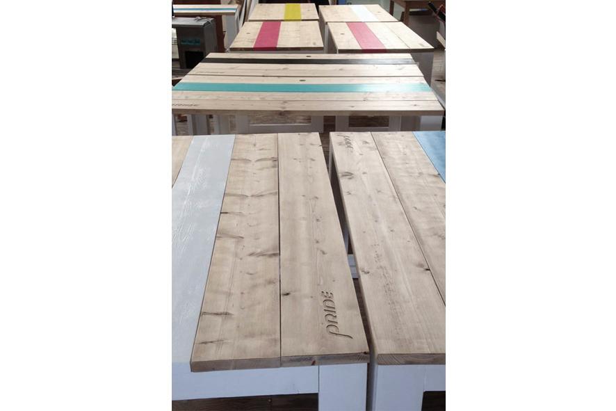 Bureau op maat steigerhout met kleur